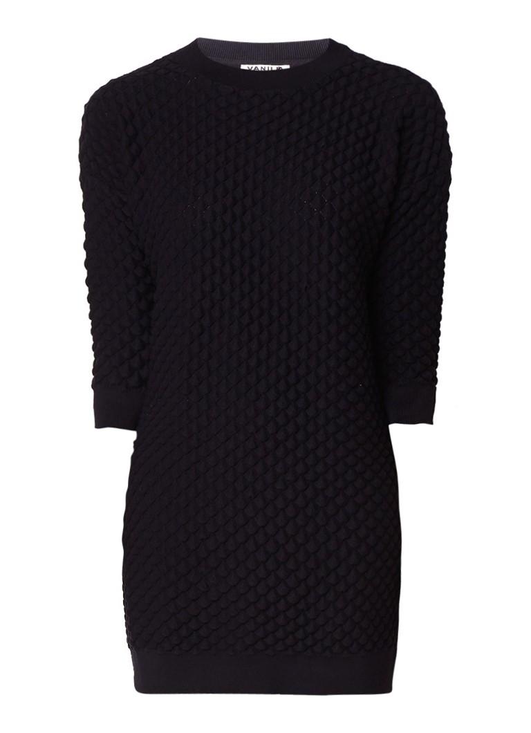 Vanilia Jurk met structuur en ribgebreide boorden zwart