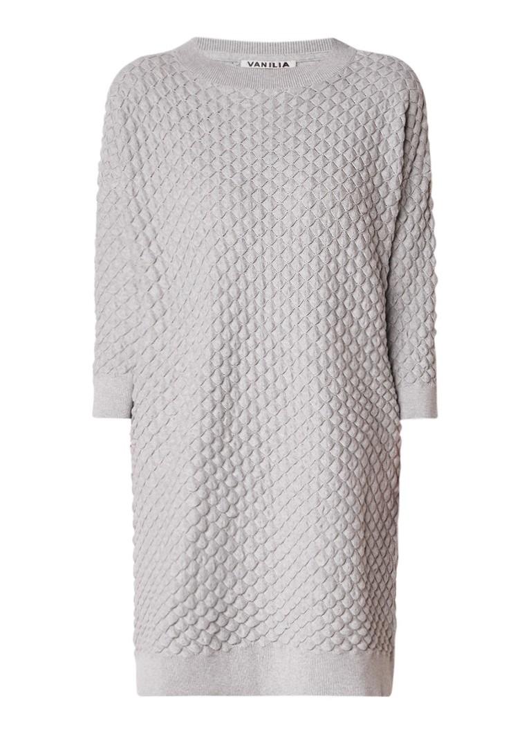 Vanilia Sweaterjurk met structuur grijs