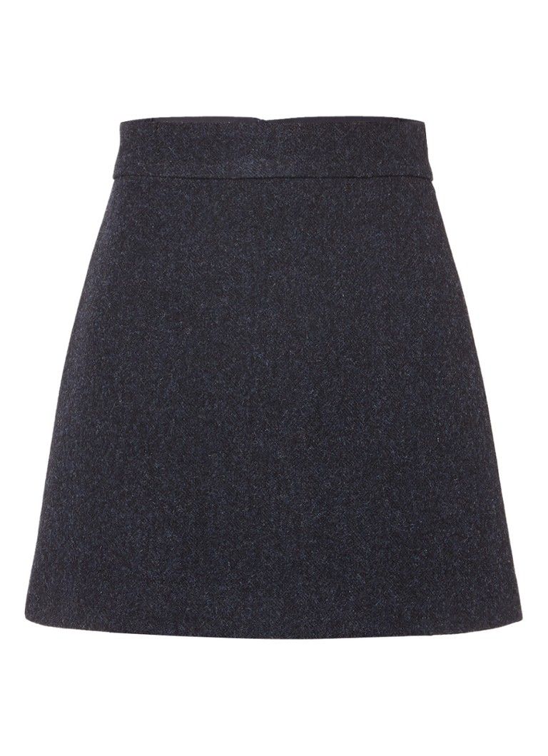 Vanilia A-lijn mini-rok van wol blauw