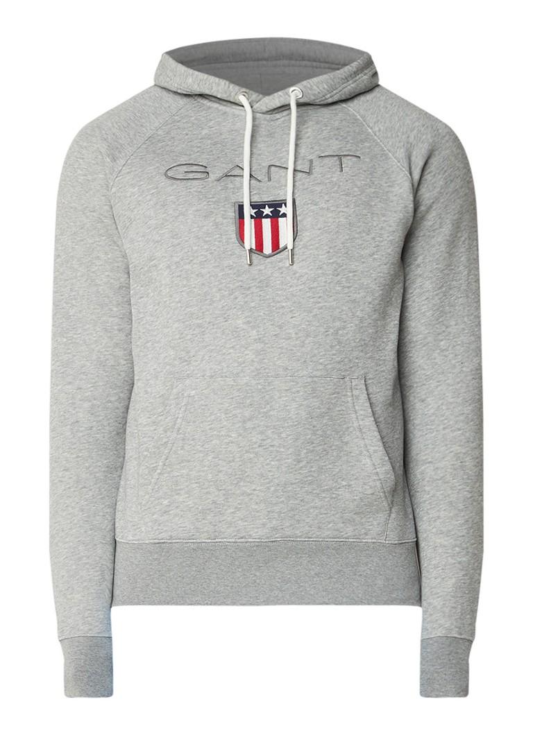 Gant Gemêleerde hoodie met steekzak en logoborduring