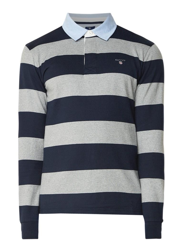 Gant Sweater met streepdessin en contrastkraag