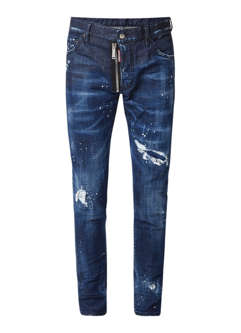 Dsquared2 Cool Guy straight fit jeans met destroyed details