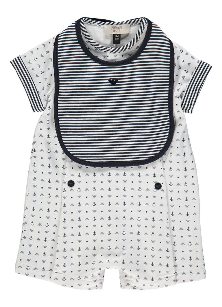 Armani Babypak met logo print en slabbetje 2-delig