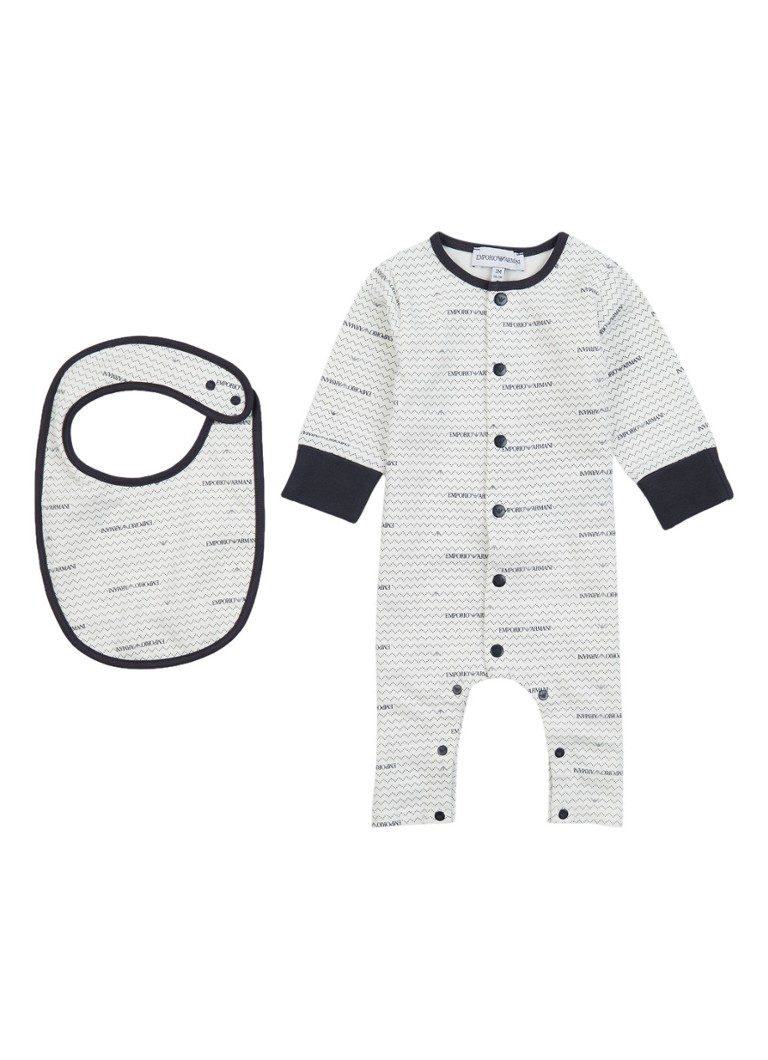 Image of Armani Babypak met logoprint en slabbetje
