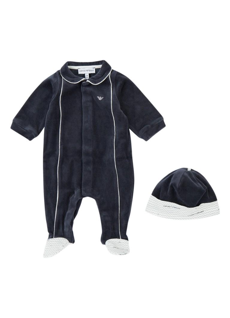 Image of Armani Babypak en muts van fluweel in giftbox