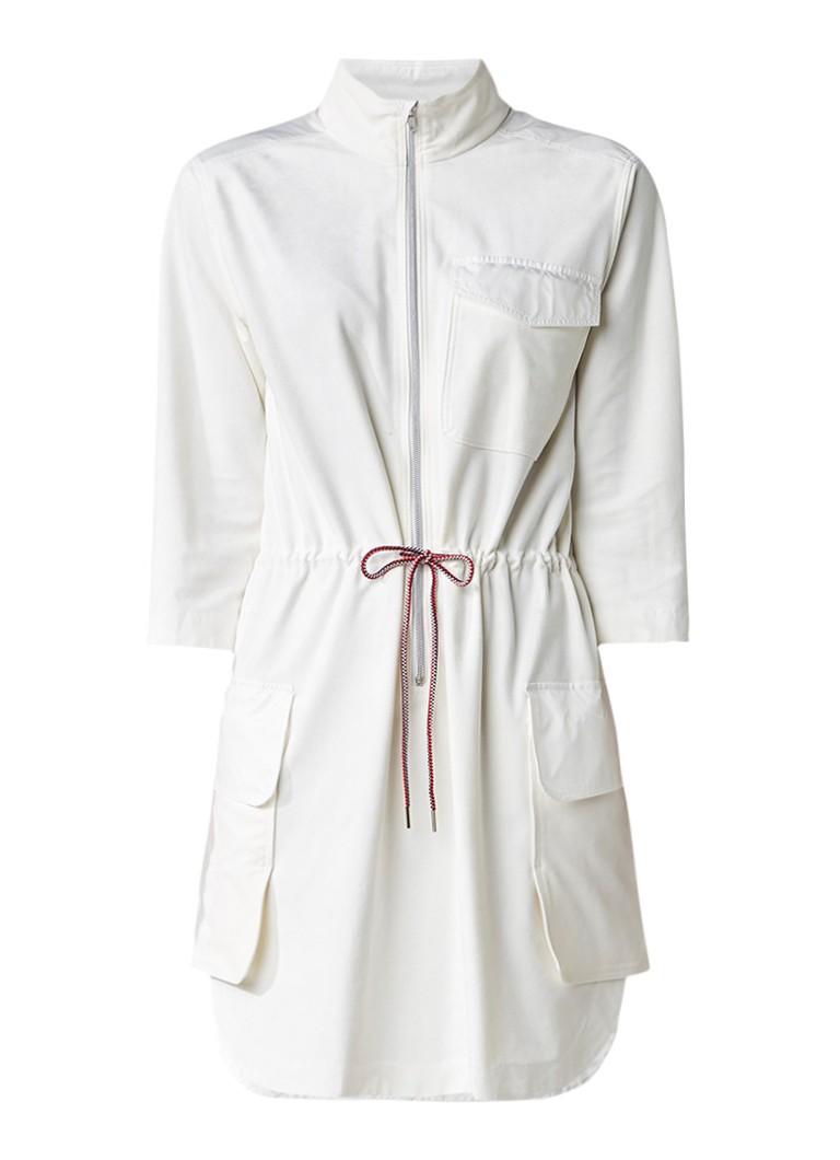 Vanilia Midi blousejurk van suèdine met klepzakken gebroken wit