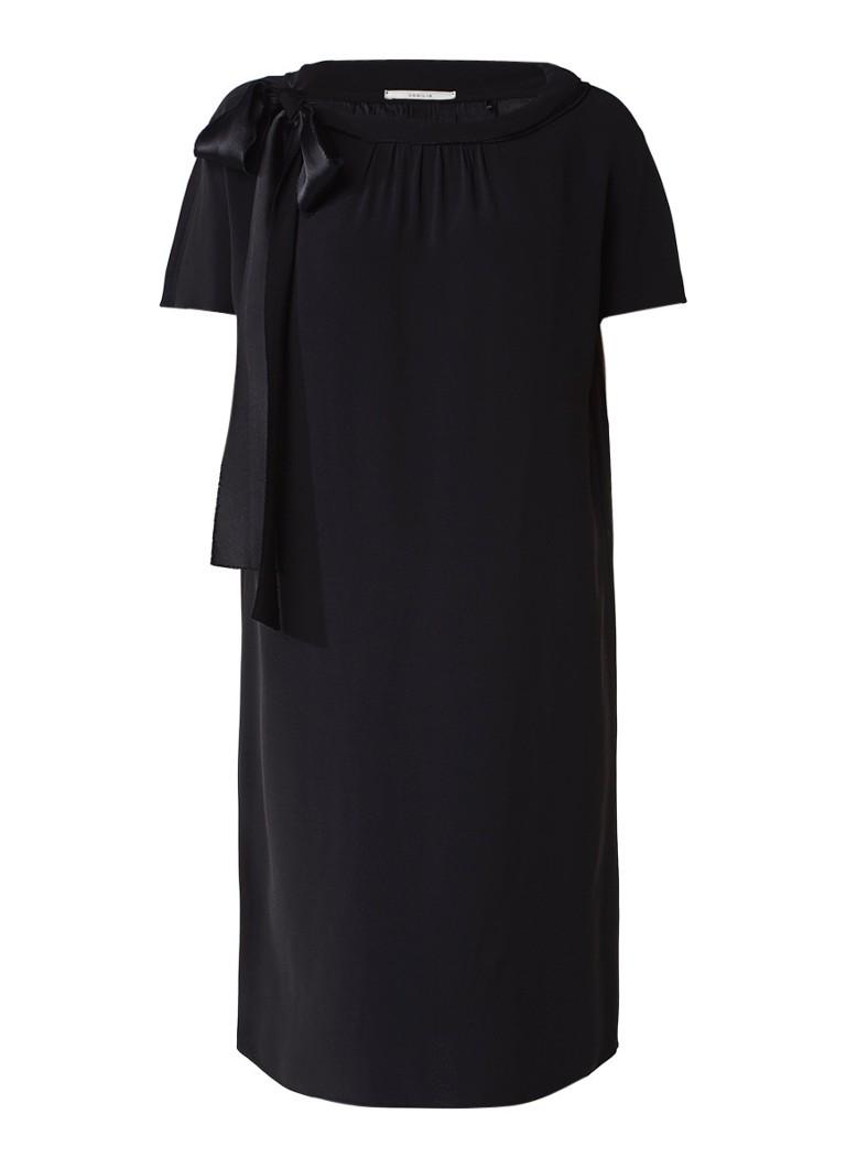 Vanilia Crêpe shift jurk met strikdetail zwart