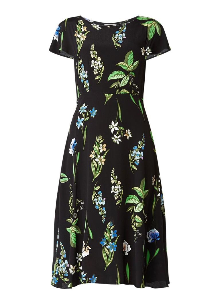 Vanilia A-lijn jurk met bloemdessin zwart