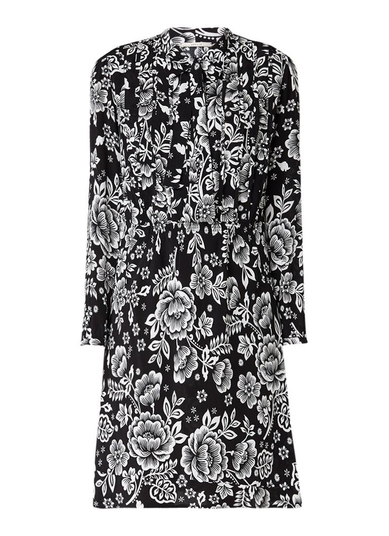 Vanilia Midi-jurk met strikkraag en bloemdessin zwart