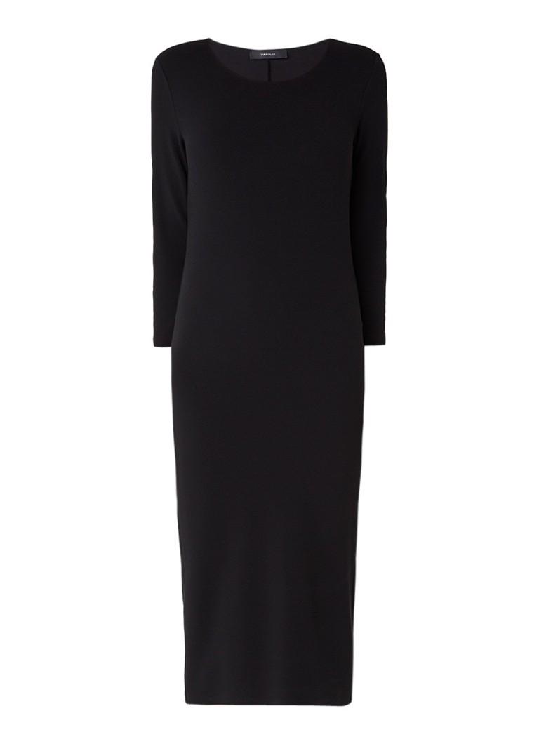 Vanilia Jurk van ribjersey met lange mouw zwart