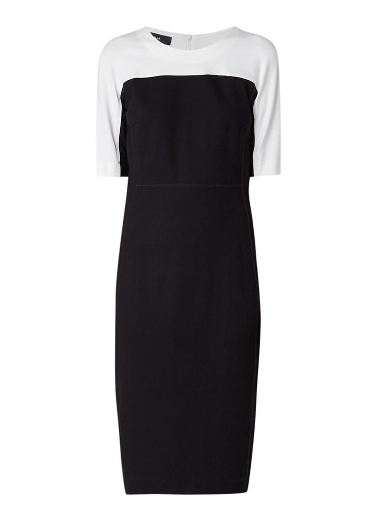 Vanilia Midi-jurk met colour blocking zwart