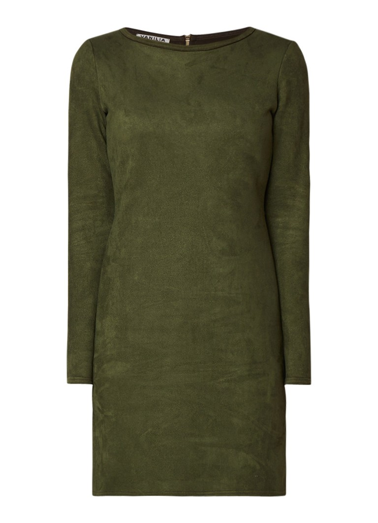 Vanilia A-lijn jurk van imitatiesuède donkergroen
