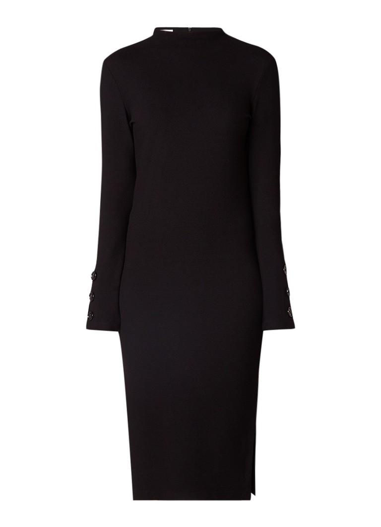 Vanilia Fijngebreide jurk met structuur en knoopdetails zwart