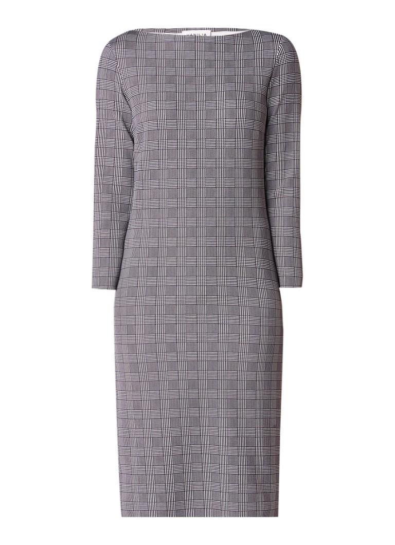 Vanilia Midi-jurk van neopreen met ruitdessin donkergrijs