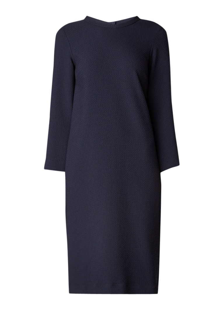 Vanilia Loose fit jurk met ingeweven structuur donkerblauw