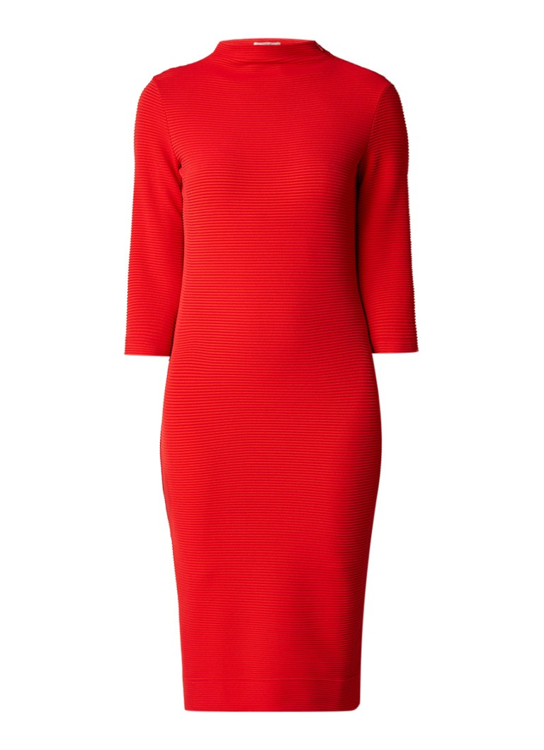 Vanilia Midi-jurk met ribstructuur en col rood
