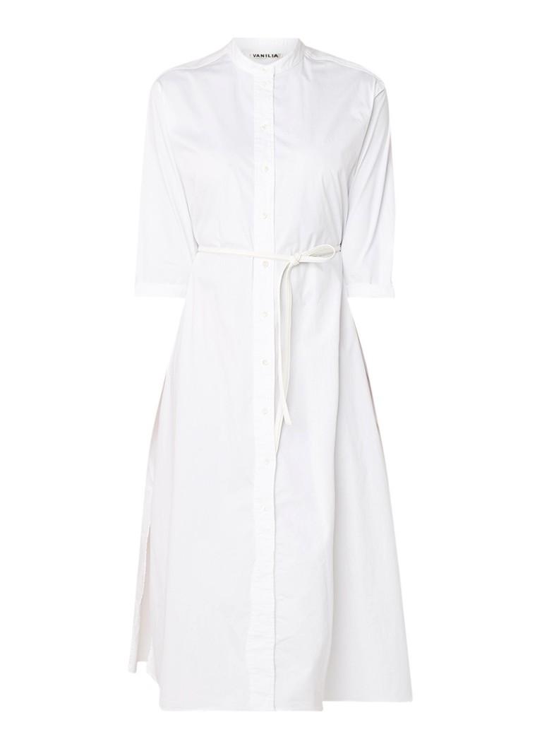 Vanilia Midi blousejurk in katoenblend met ceintuur wit