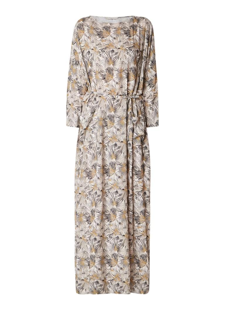 Vanilia Maxi jurk met bloemendessin en ceintuur mosgroen