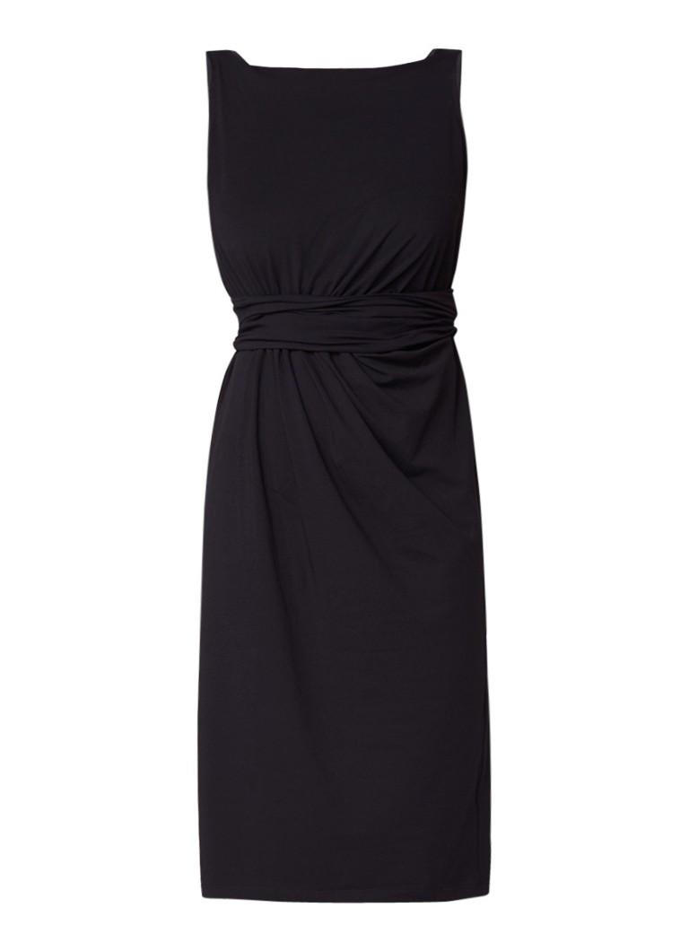 Vanilia Baristy A-lijn jurk van jersey met draperie zwart
