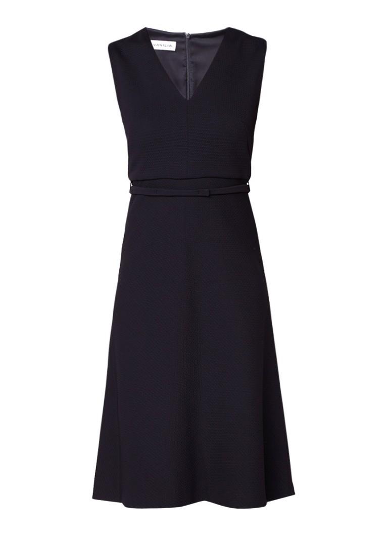 Vanilia A-lijn jurk met textuur en V-hals zwart