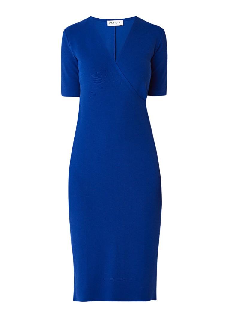 Vanilia Midi-jurk met overslag en ribstructuur kobaltblauw