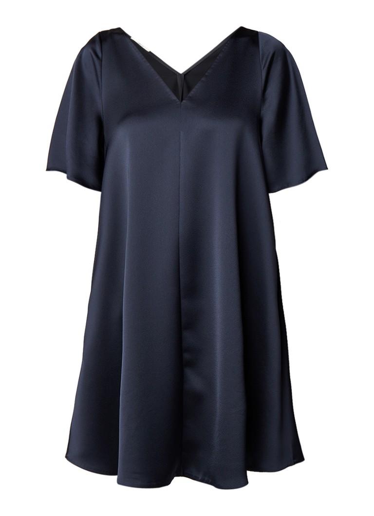 Vanilia A-lijn tuniekjurk van satijn met V-hals donkerblauw