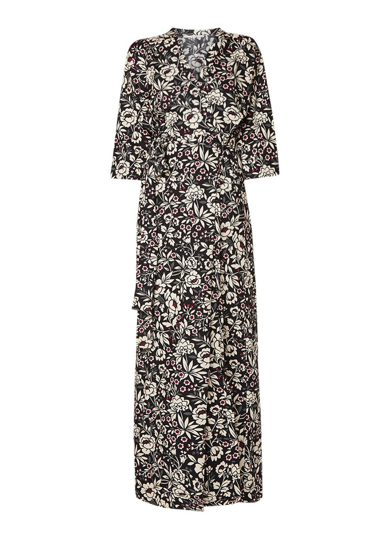 Vanilia Kimono wikkeljurk met bloemendessin zwart