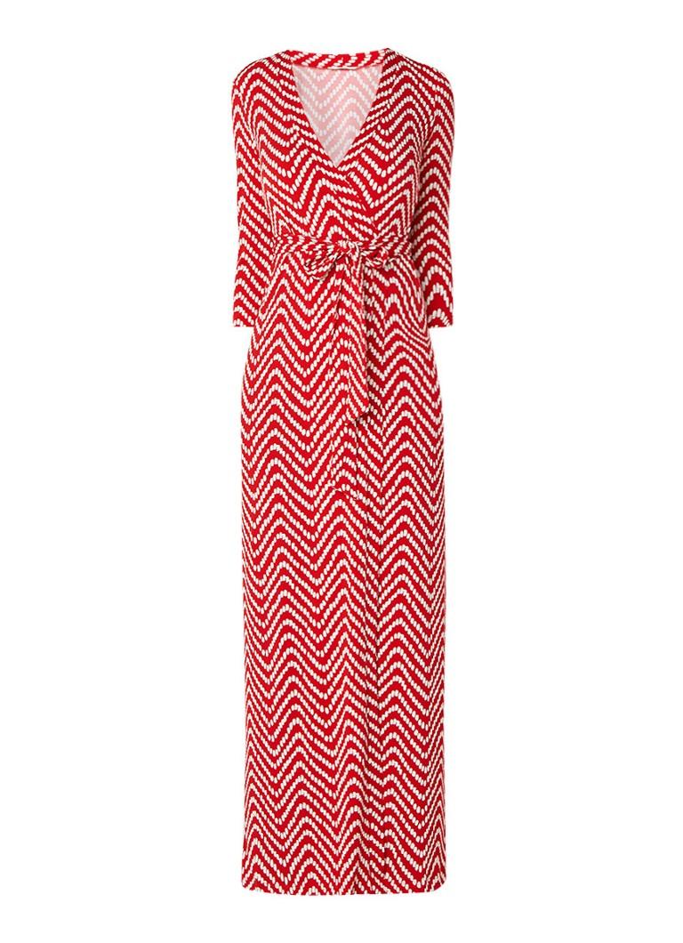 Vanilia Maxi-jurk met overslag en dessin rood
