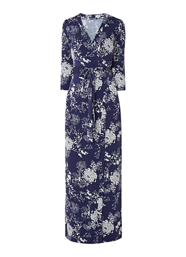 Vanilia Maxi-jurk met overslag en bloemendessin donkerblauw