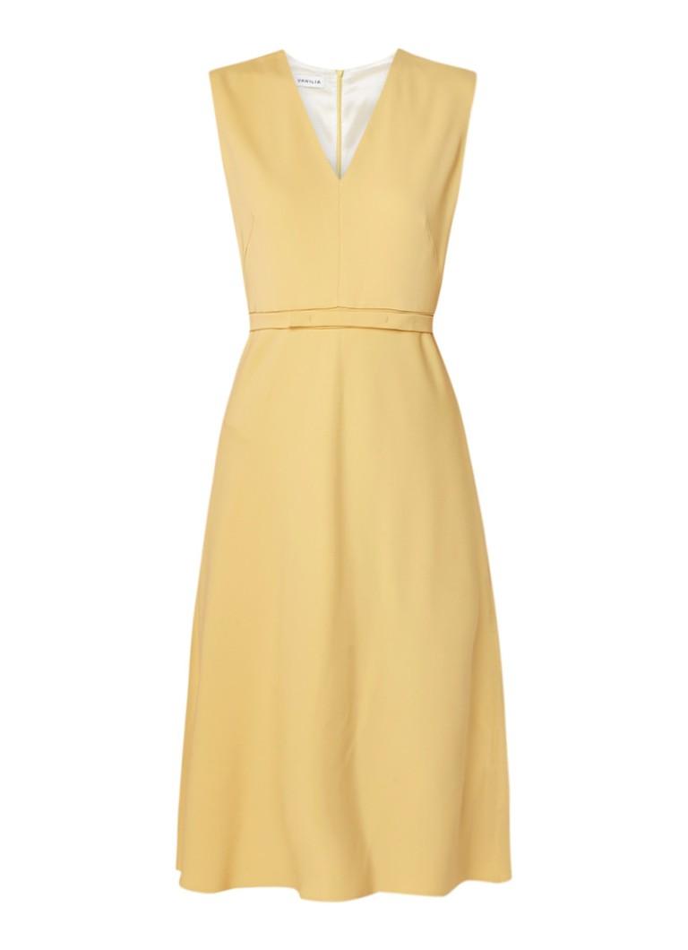 Vanilia A-lijn jurk van crêpe met ceintuur geel