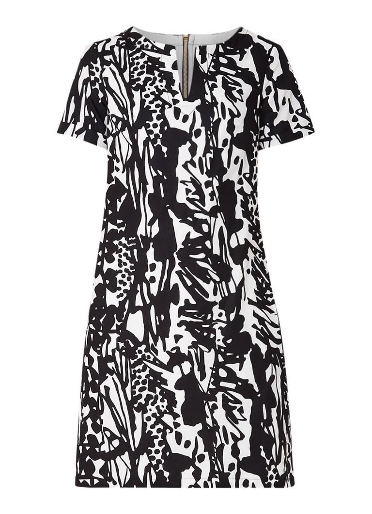 Vanilia Midi-jurk met V-hals en abstract dessin zwart