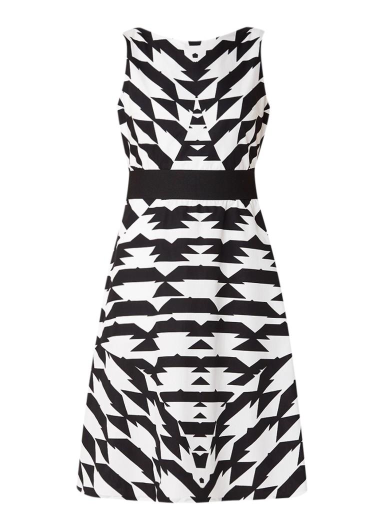 Vanilia A-lijn jurk van katoen met grafisch dessin zwart