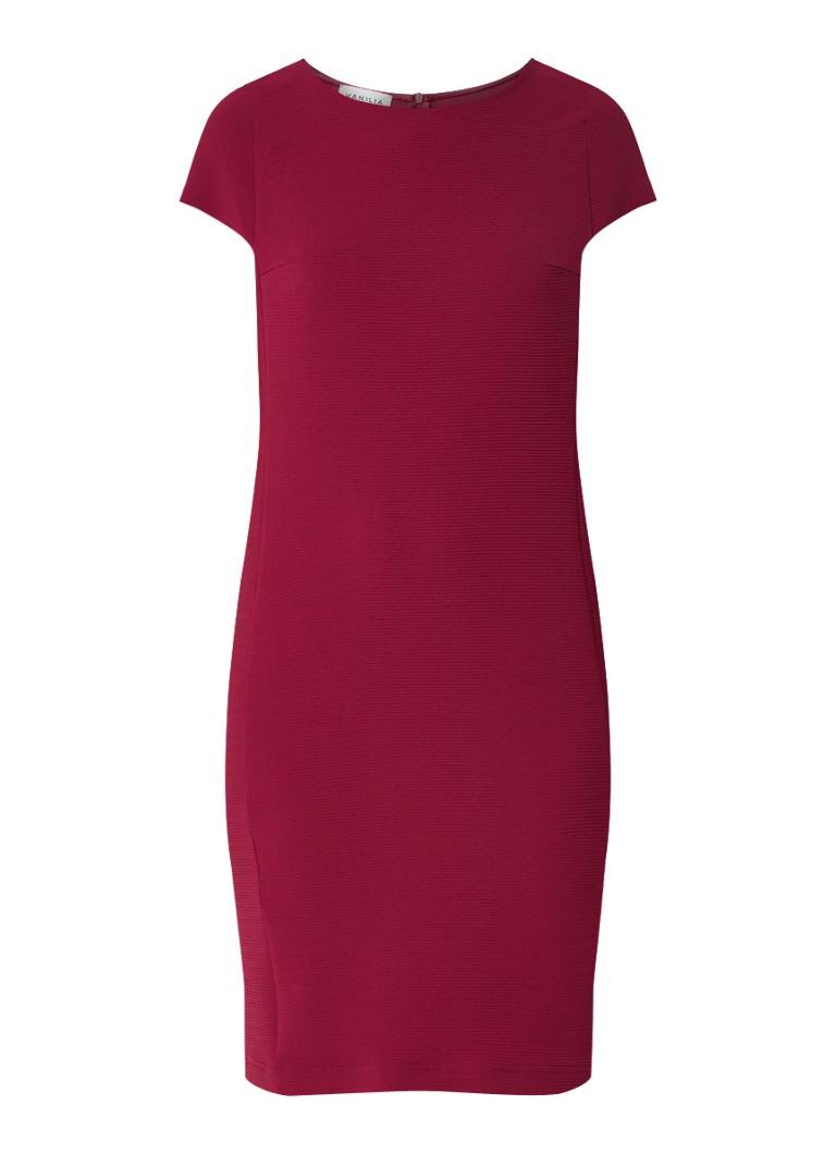 Vanilia Midi-jurk met stretch en structuur donkerroze