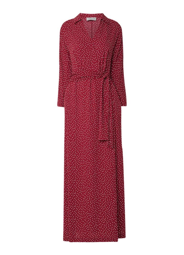 Vanilia Maxi-jurk met gestipt dessin en strikceintuur donkerrood