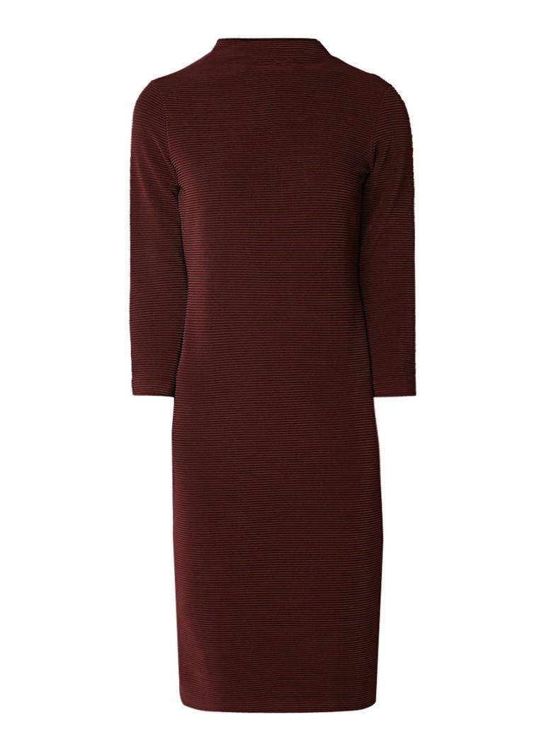 Vanilia Midi-jurk met ingeweven structuur en stretch mahoniebruin