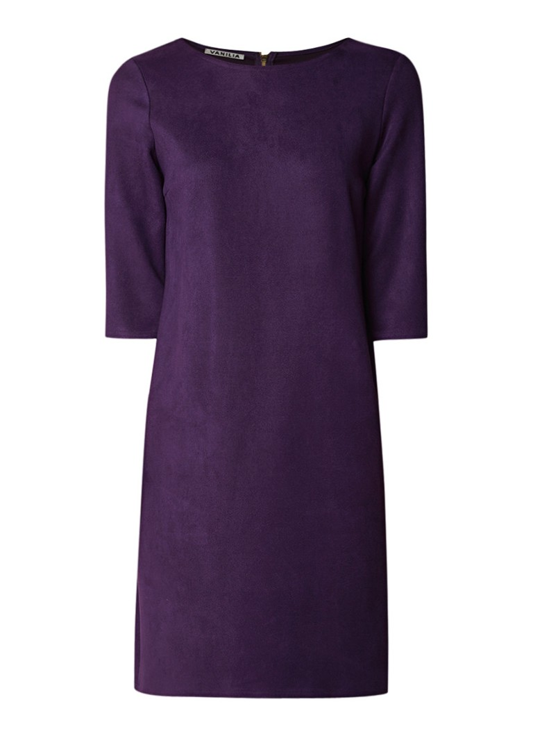 Vanilia Loose fit midi-jurk van imitatiesuède paars