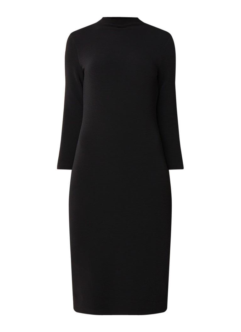 Vanilia Midi-jurk met ingeweven structuur en stretch zwart
