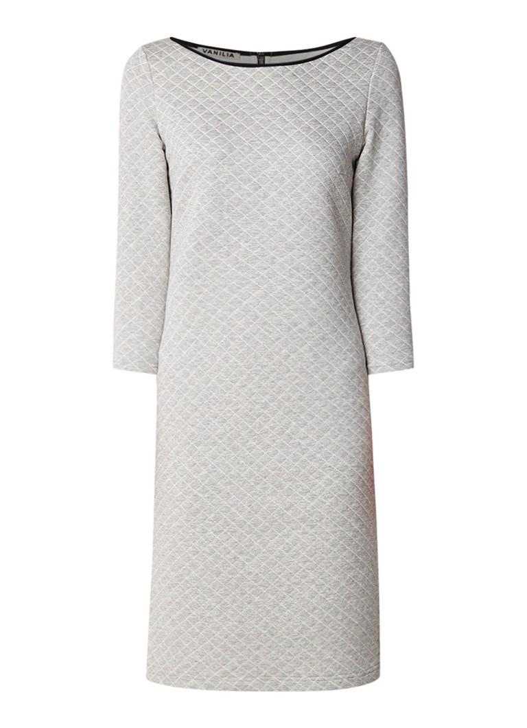 Vanilia Quilted midi-jurk in katoenblend met driekwartmouw grijsmele