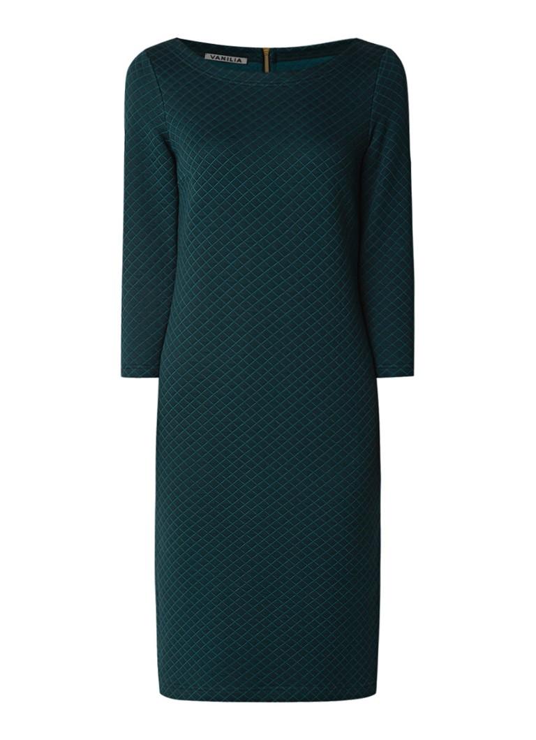 Vanilia Quilted midi-jurk in katoenblend met driekwartmouw flessengroen