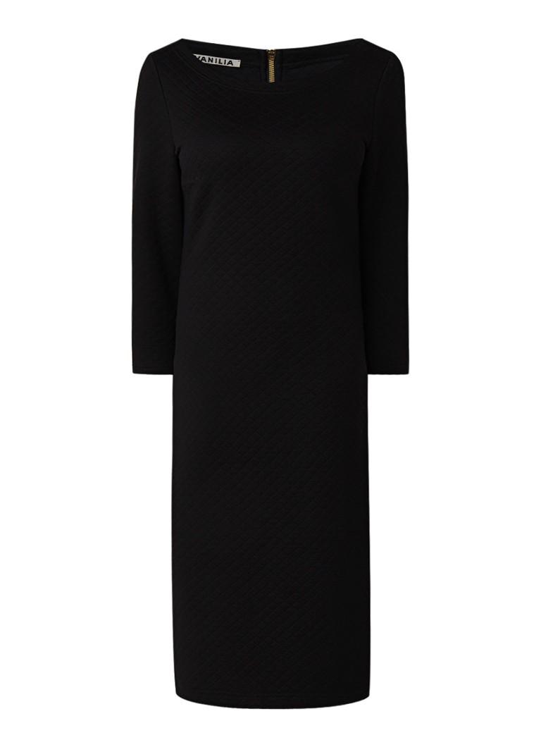 Vanilia Doorgestikte midi-jurk met driekwartmouw zwart