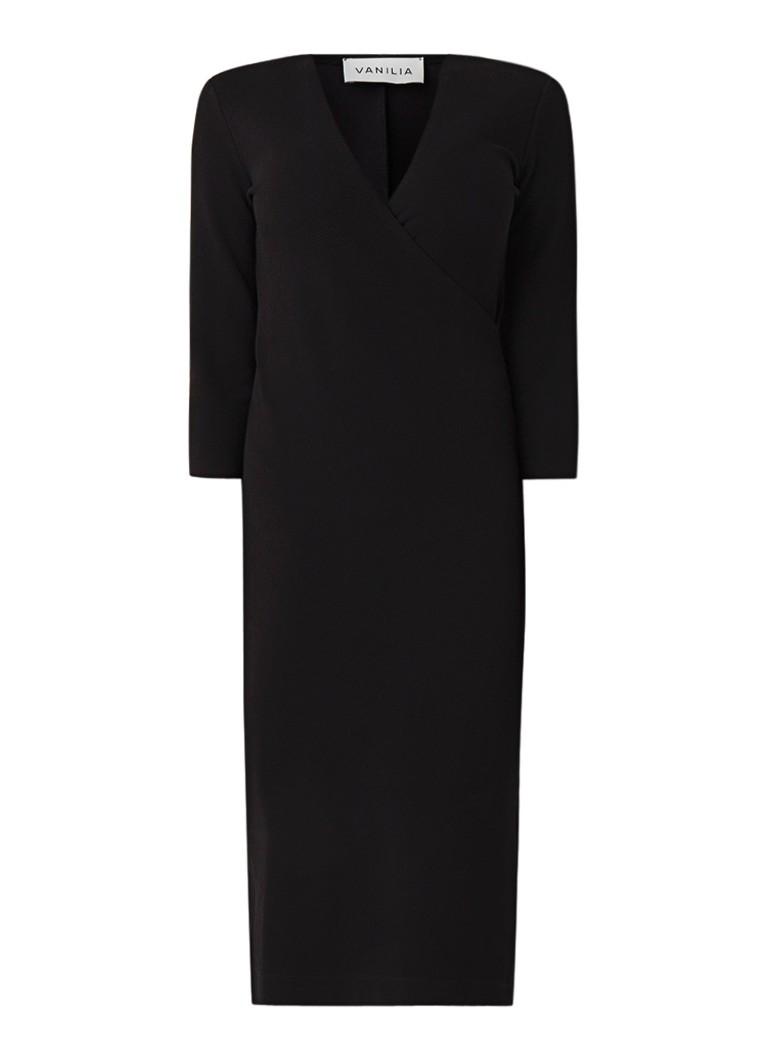 Vanilia Midi-jurk van jersey met overslag en structuur zwart