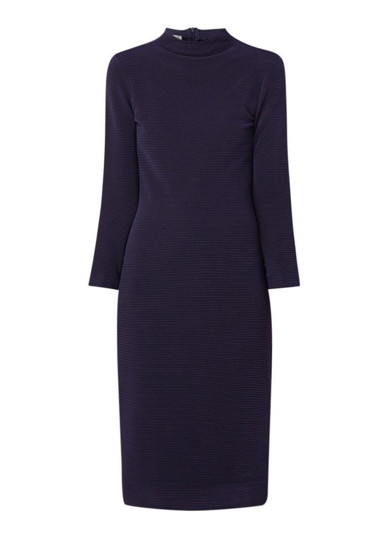 Vanilia Midi-jurk met ingeweven structuur en stretch donkerblauw
