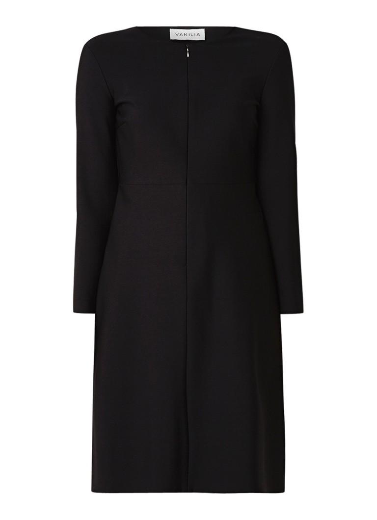 Vanilia Tuniekjurk met driekwartmouw en ritszakken zwart