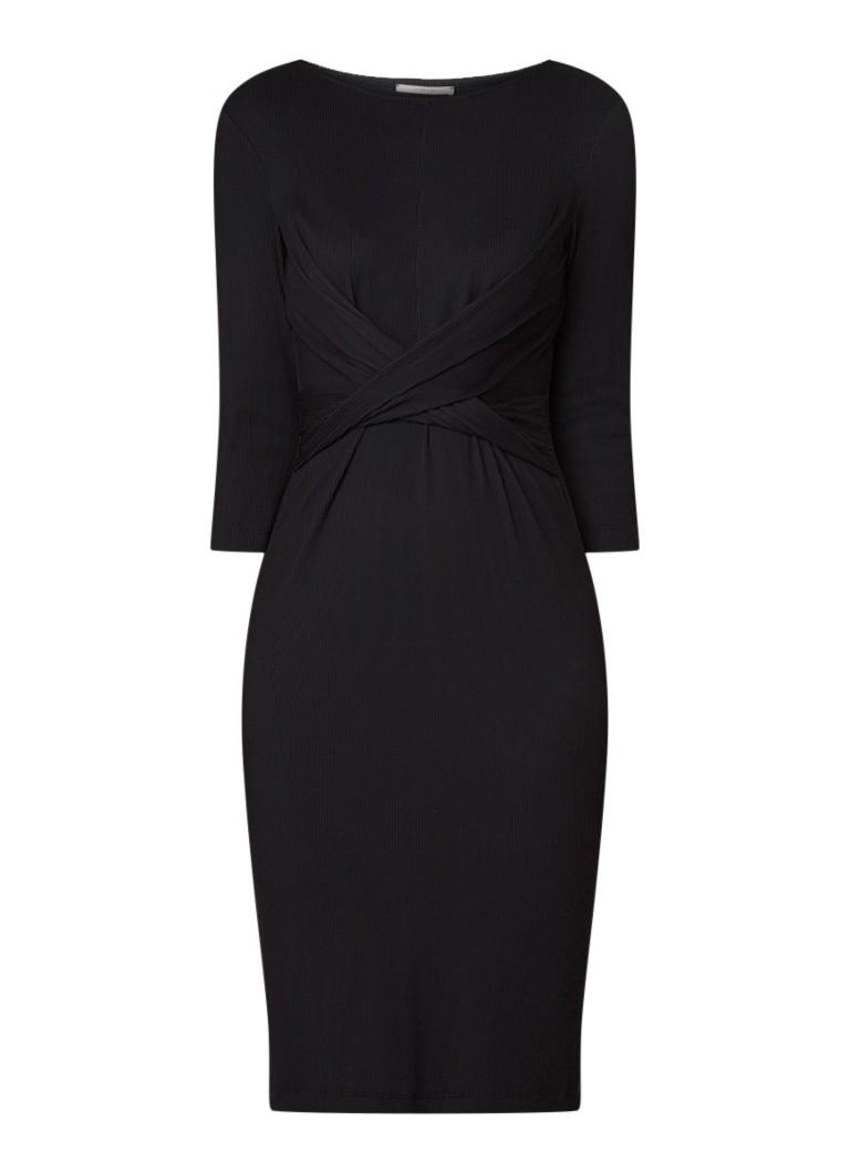 Vanilia Ribgebreide midi-jurk met boothals en driekwart mouw zwart