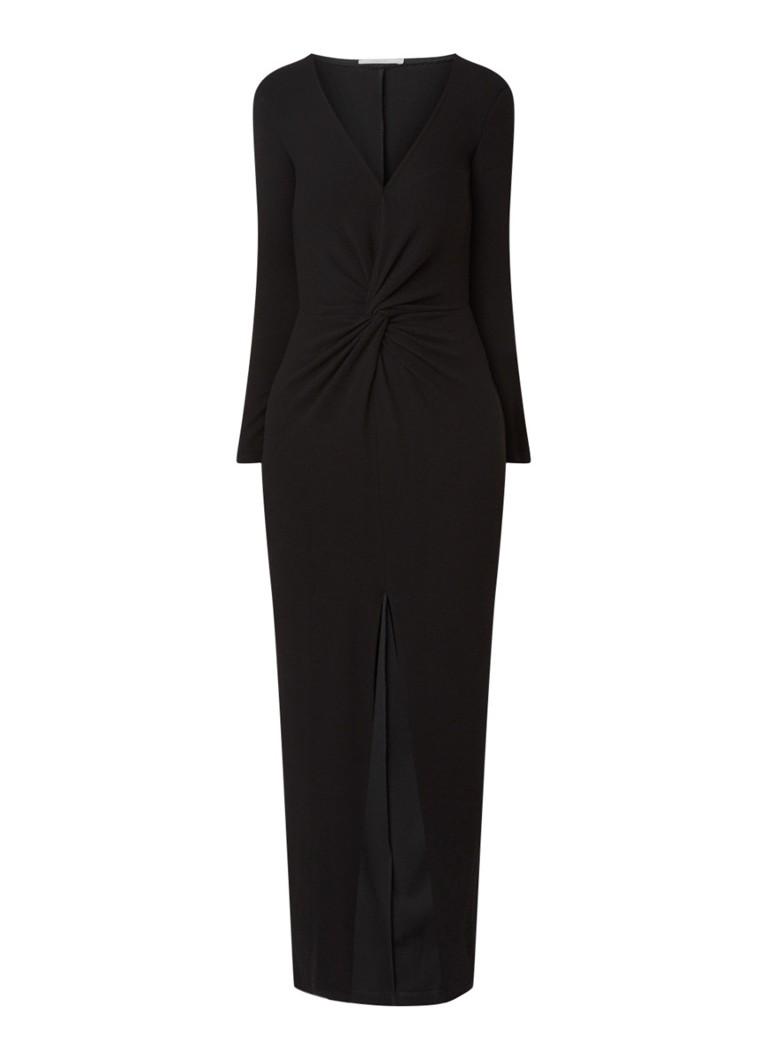 Vanilia Eden maxi-jurk van crêpe met split en knoopdetail zwart