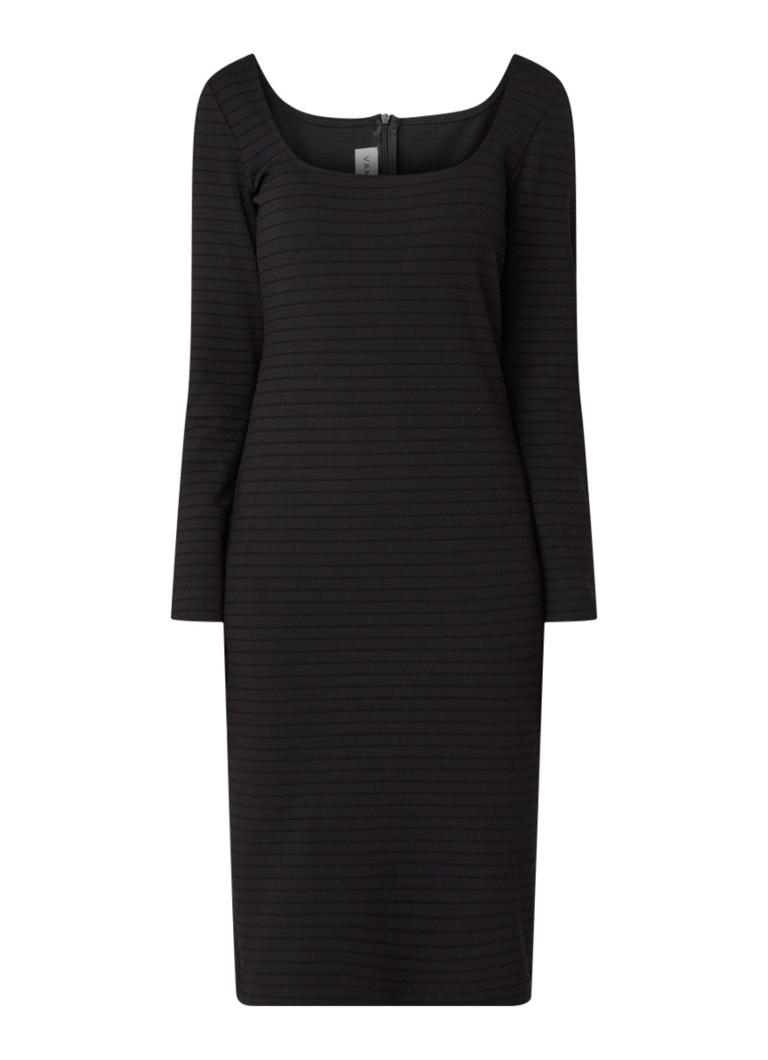 Vanilia Ribgebreide bodycon jurk met rechthoekige halslijn zwart