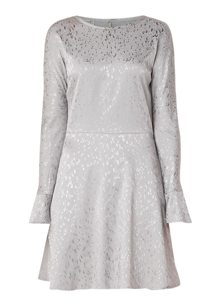 Vanilia A-lijn jurk in katoenblend met dessin zilver