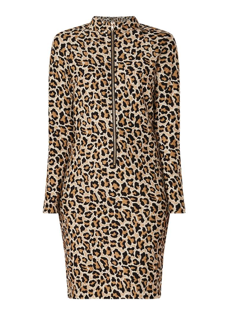 Vanilia Fijngebreide jurk met luipaarddessin lichtbruin