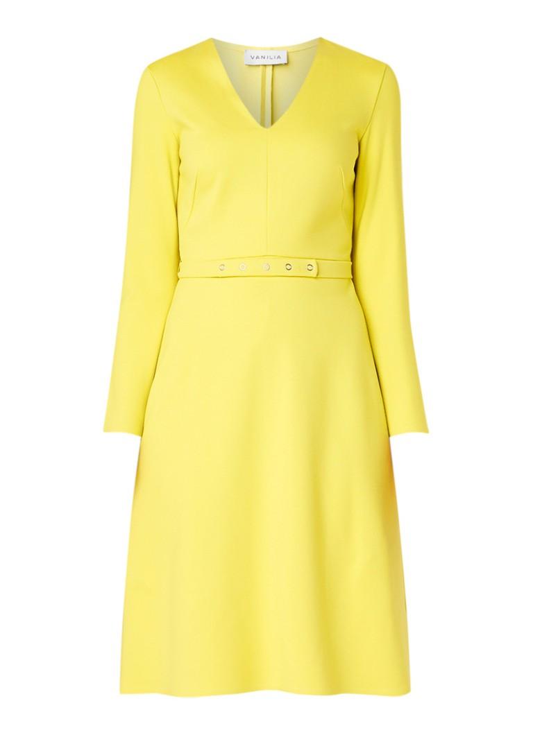 Vanilia Punto A-lijn jurk met ceintuur citroengeel