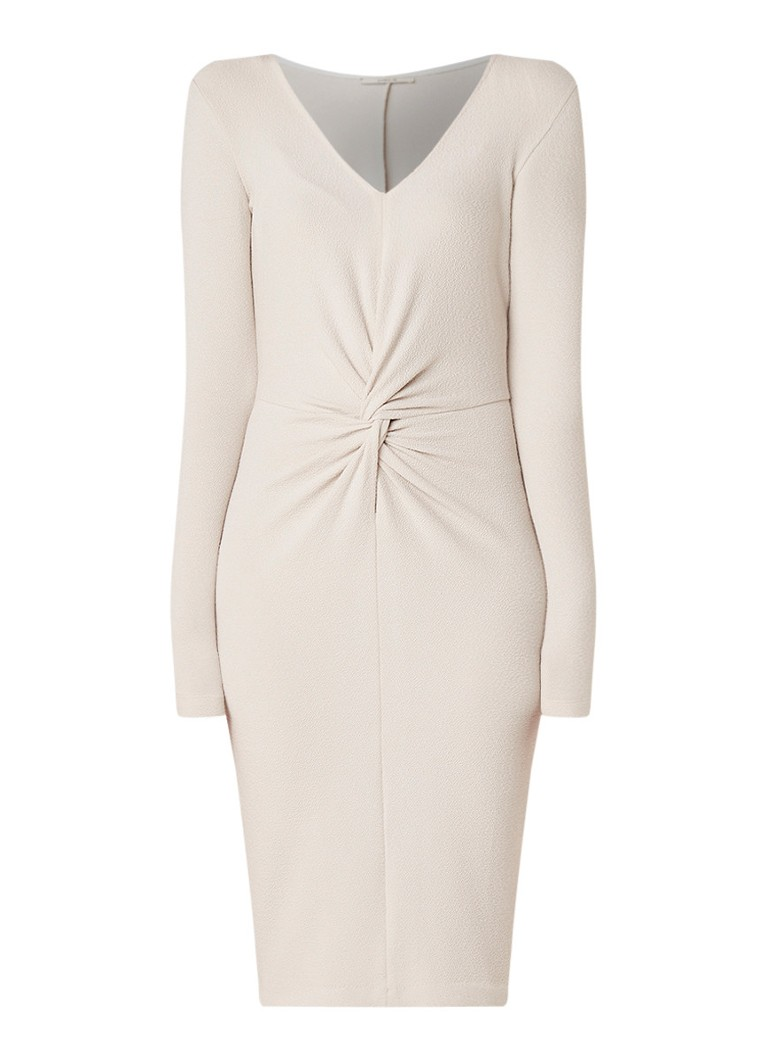 Vanilia Midi-jurk van crêpe met knoopdetail lichtgrijs